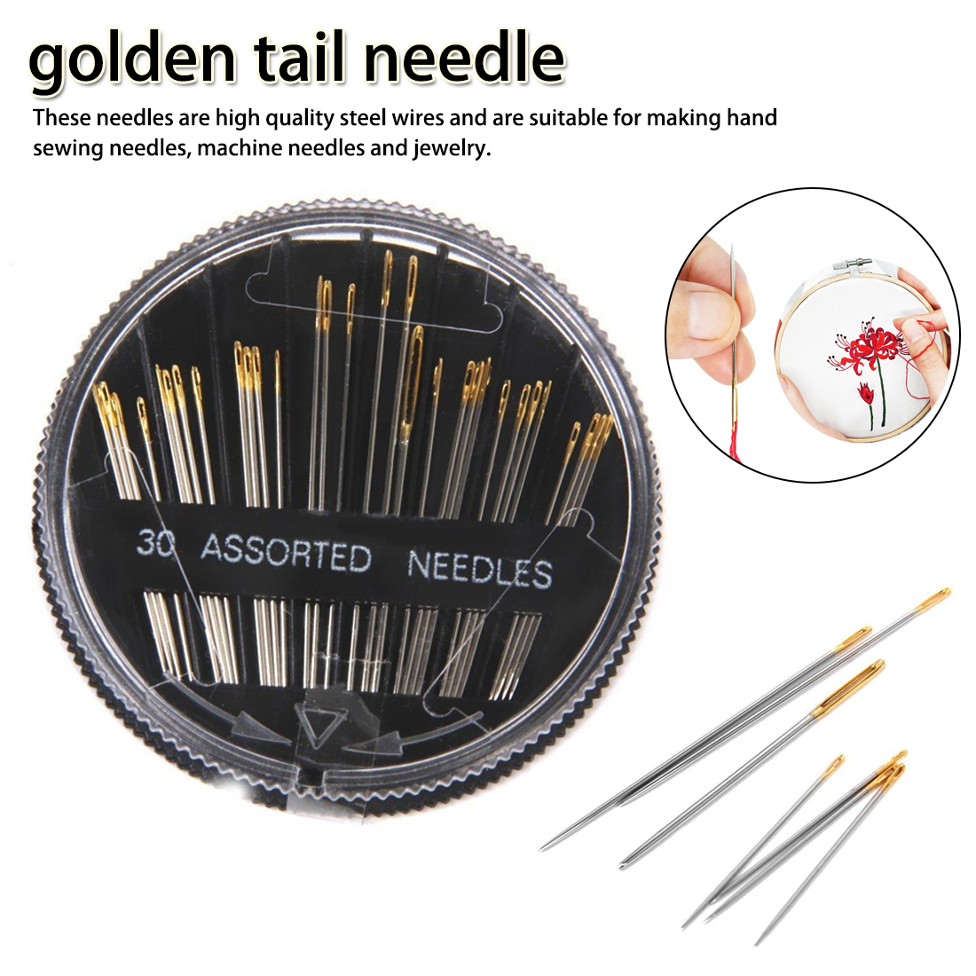 30PCS Case Assorted Hand Sewing Needles Embroidery Mending Craft Quilt Sew New