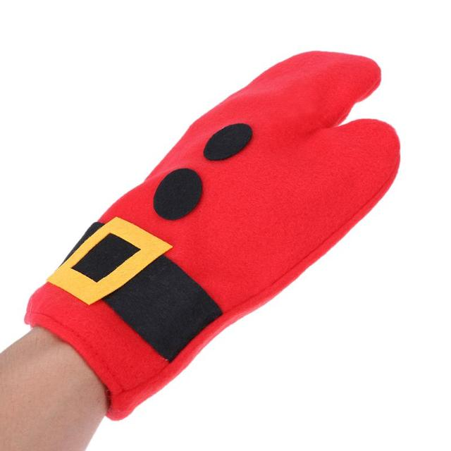 3pcsset kitchen gloves potholders christmas oven mitts heat resistant thick baking insulation mat cooking