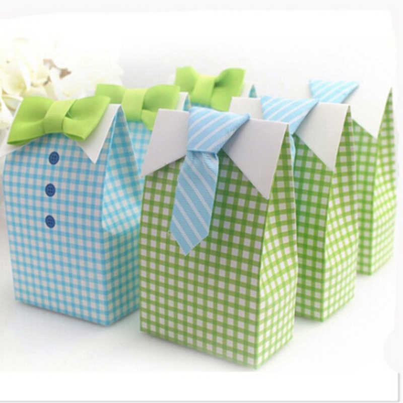 5pc Creative Gift Bags Candy Bag Tie Striped Tie For Party Baby Shower Paper Gift Packaging Party Supplies