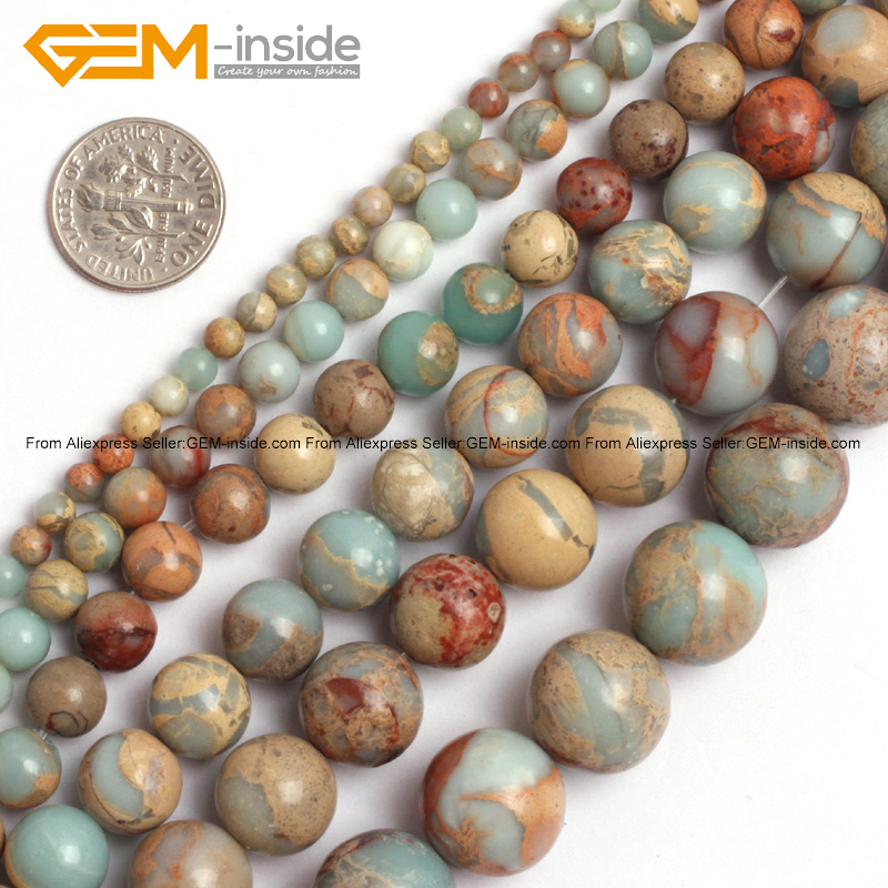 Gem-inside Natural Round Multicolor Shoushan Jaspers Stone Beads For Jewelry Making Earring 4-20mm 15inches DIY Jewellery