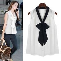Elegant Bow Ladies Blouses Loose Sleeveless Shirt Women V Neck Chiffon White Women Clothes 2018