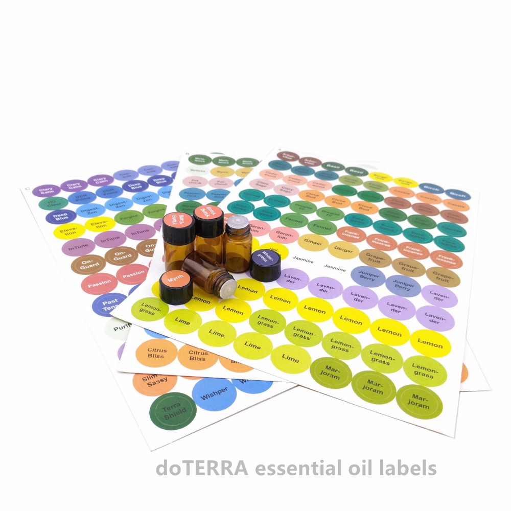 1set Pre-printed Essential Oil Bottles Cap Lid Labels Round Circle Stickers Colorful For ALL DoTERRA Young Living Oils Organizer