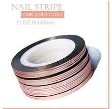 NSL03-4  10pcs 1/2/3mm Rose Gold Colors Rolls Striping Tape Line Nail Art Decoration Sticker Metallic