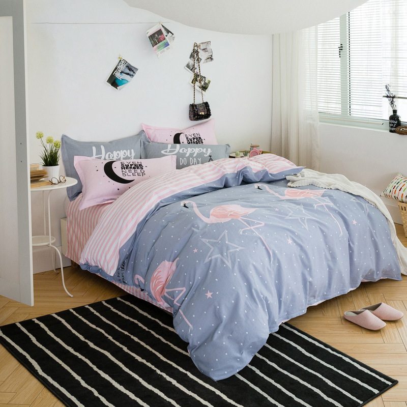 ROWBOE brand cotton Nordic style Queen King quilt cover sheets pillowcase breathable comfort home textile supplies four-pieceROWBOE brand cotton Nordic style Queen King quilt cover sheets pillowcase breathable comfort home textile supplies four-piece