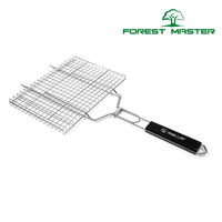 Non Stick Rectangle Grilling Basket with Rosewood Handle BBQ Meat Grilling Basket Barbecue Tools For Burgers Steaks Chicken Fish