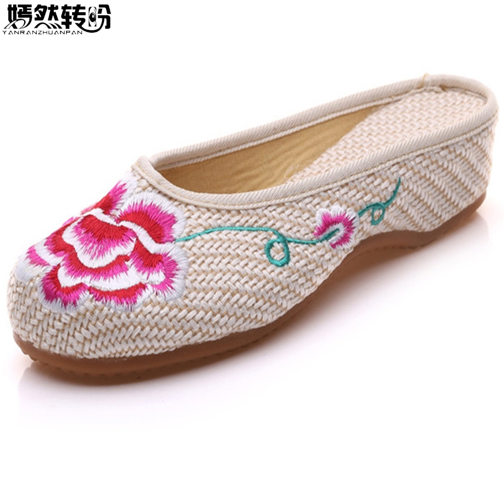 Chinese Summer Shoes Women Slippers Old Beijing Flowers Embroidered Flats Ethnic Home Slippers For Woman Chanclas Mujer ethnic embroidered black cami dress for women