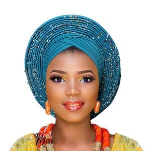 Image 4 - 2018 plus récent aso oke tête cravate violet nigérian déjà fait peut porter directement casque
