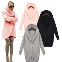 New Women Winter Coat Warm Cotton Wool Long Fashion Jacket European Outwear Coat Solid Blouse Long Sleeve with Pockets