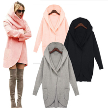 New Women Winter Coat Warm Cotton Wool Long Fashion Jacket European Outwear Coat Solid Blouse Long Sleeve with Pockets