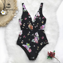 a9737a90fe1 CUPSHE Black Floral Print Lace-Up One-Piece Swimsuit Women Ruched Sexy  Monokini Swimwear 2019 Girl Beach Bathing Suits