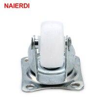 4pcs NAIERDI 10KG Universal Swivel Casters 1″ Furniture Wheel Castor White PP Nylon Dual Roller Wheel For Platform Trolley Chair