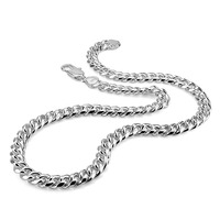 Real 100 Sterling Silver Men S Necklace Hip Hop Punk Style 10mm 26in Chain Necklace Fashion