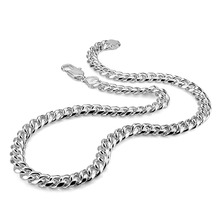 Real 100% Sterling Silver Men's Necklace Hip-Hop Punk Style 10mm 26in Chain Necklace Fashion Men/ boy 925 Silver Jewelry Pendan цена