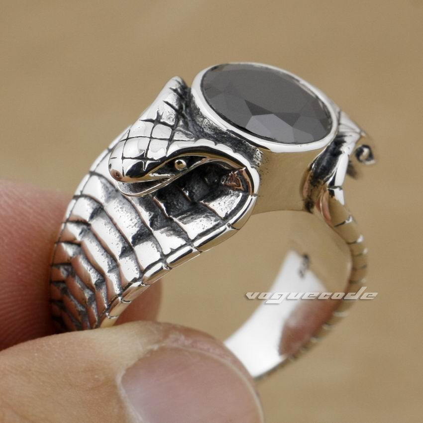 LINSION Black CZ Stone 925 Sterling Silver King Cobra Snake Ring Fashion Biker Rock Punk Style 9K012 US Size 6.5 to 13 стоимость