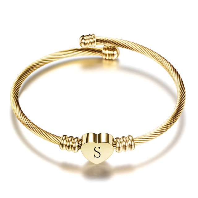 Adjustable Gold Color Stainless Steel Heart Bracelet Bangle With Letter Fashion Initial Alphabet Charms for Women