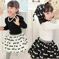 3 PC da criança meninas do bebê + saia + arco nó conjunto lenço Outfits1-5Y