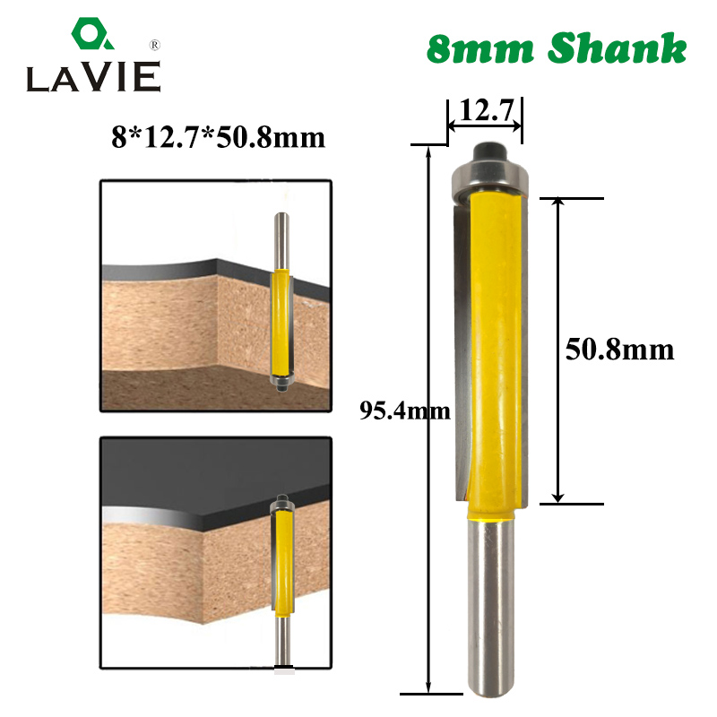 1pc 8mm Shank 2 Flush Trim Router Bit with Bearing for Wood Template Pattern Bit Milling Cutter Dremel Woodworking Tool 02017-1 16pcs 14 25mm carbide milling cutter router bit buddha ball woodworking tools wooden beads ball blade drills bit molding tool