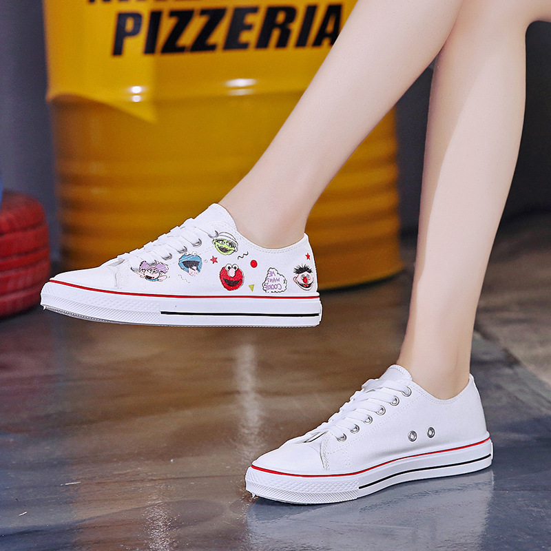 Student Sneakers Shoes 2019 Women Cartoon Canvas Shoes Female Joker Flats Board Shoes Girl Flat Lace Up White Vulcanized Shoes