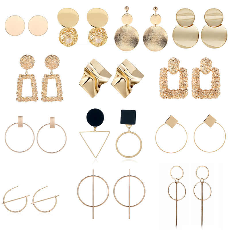 Fashion Statement Earrings 2019 Big Geometric earrings For Women Hanging Dangle Earrings Drop Earring modern Jewelry