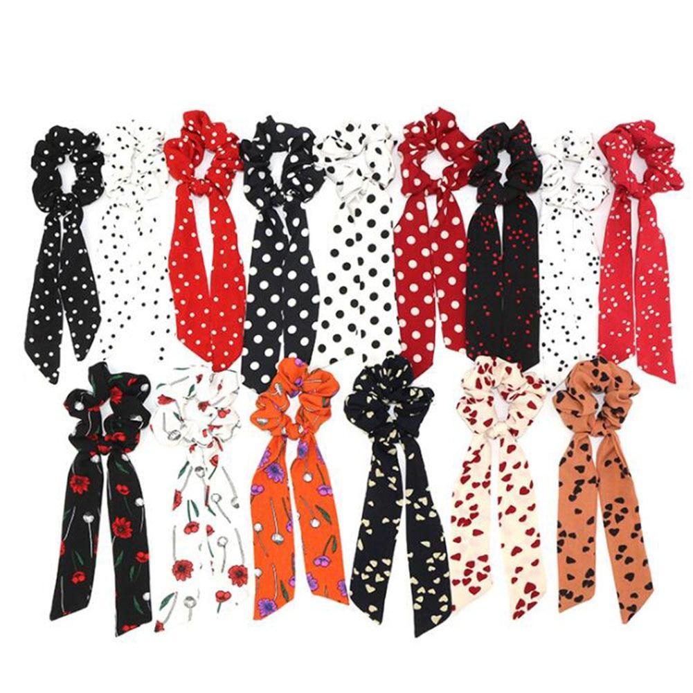 2019 Boho Style Floral Printed Dot Ribbon Bow Hair Scrunchies  Elastic Hair Bands Women Elegant Scarf Rope Ties Hair Accessories