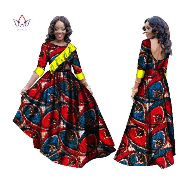 f6de5d1ab05 2017 African Dresses for Women Dashiki African Print Clothing Half Sleeve  Mermaid Dress Maxi Dress BRW Plus Size 6XL BRW WY1628