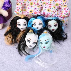 1pc Cute Girls Doll Heads Colorful Demon Monster Wig Hair Decoration Kids Toys grils gift doll Accessories(China)