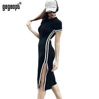 Gagaopt 2017 Spring Autumn Dress Women Casual Street Side Split Print Striped Dress Vintage Vestidos Open