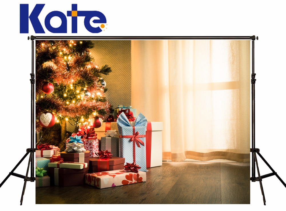 KATE Photography Backdrops Children Christmas Tree Background White Curtain Background Photography Vintage Wood Floor Backdrop
