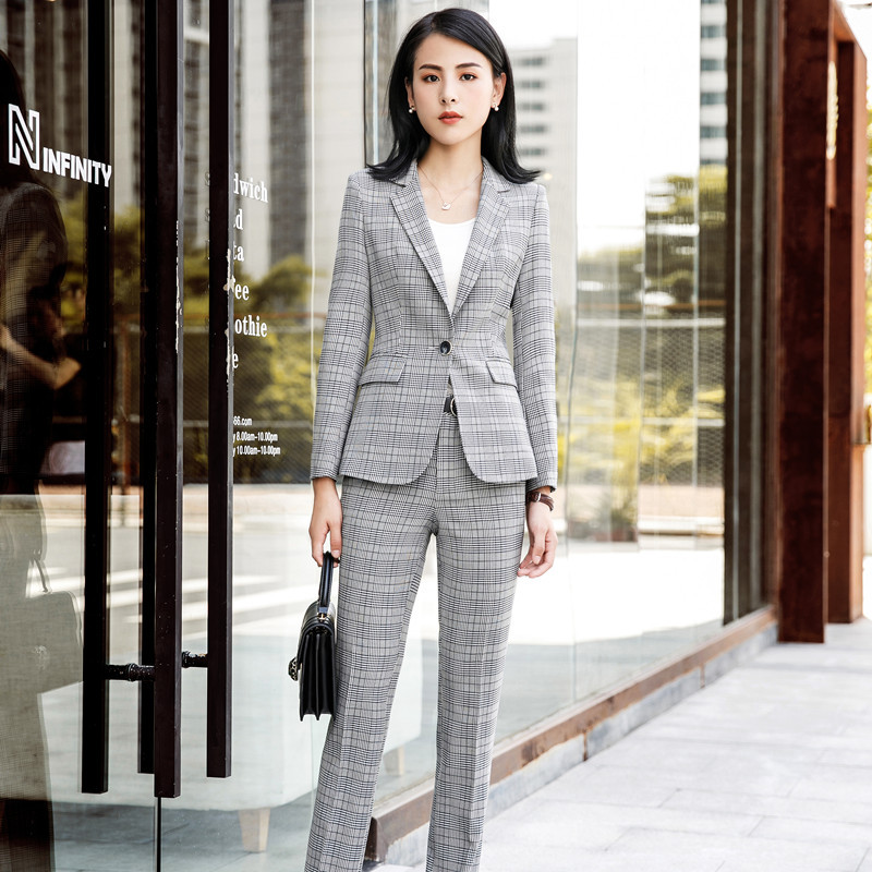 Grey Colour Formal Pant 2019 Summer Formal Women 39;s Gray Plaid Pants Suit Blazers