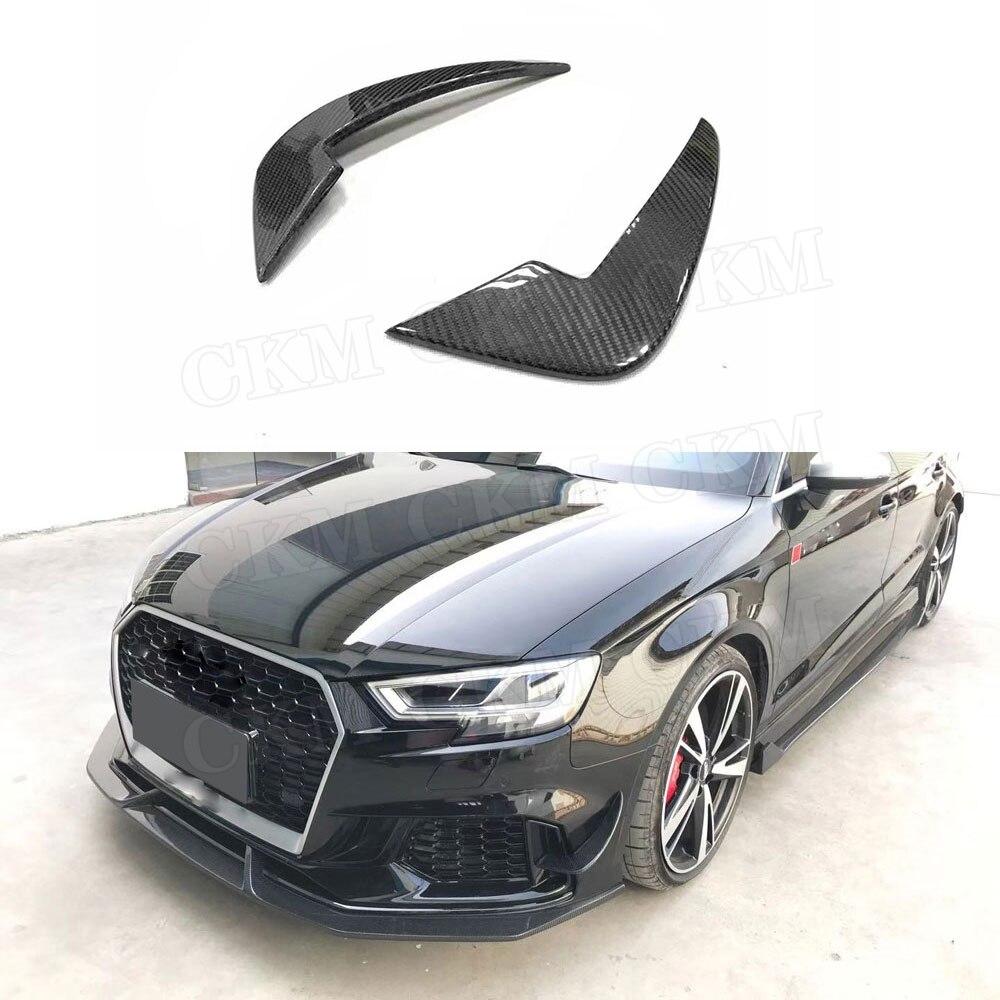 2 pièces De Pare-chocs avant en Fiber de Carbone Canards Garniture Winglet Pour Audi A3 RS3 Berline Ailerons Requin Style Moulage Garniture Pare-chocs Décoration