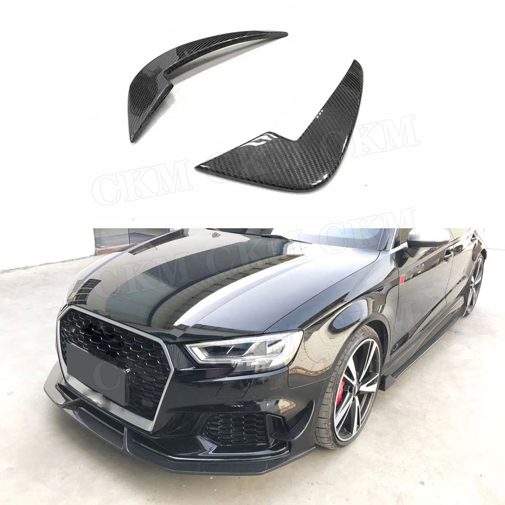 2PCS Carbon Fiber Front Bumper Canards Trim Winglet For Audi A3 RS3 Sedan Fins Shark Style Molding Garnish Bumper Decoration2PCS Carbon Fiber Front Bumper Canards Trim Winglet For Audi A3 RS3 Sedan Fins Shark Style Molding Garnish Bumper Decoration