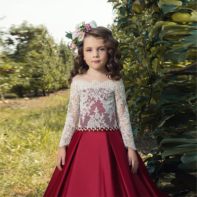 Cheap Price Little Girls Prom Dress With Long Sleeves Burgundy Satin