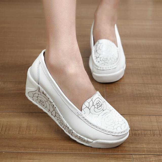 Mujer Zapatos de Las Mujeres de Cuero Genuino Talón envoltura enfermera blanco zapatos de swing trabajan solos zapatos de la señora zapatos de plataforma de tacón