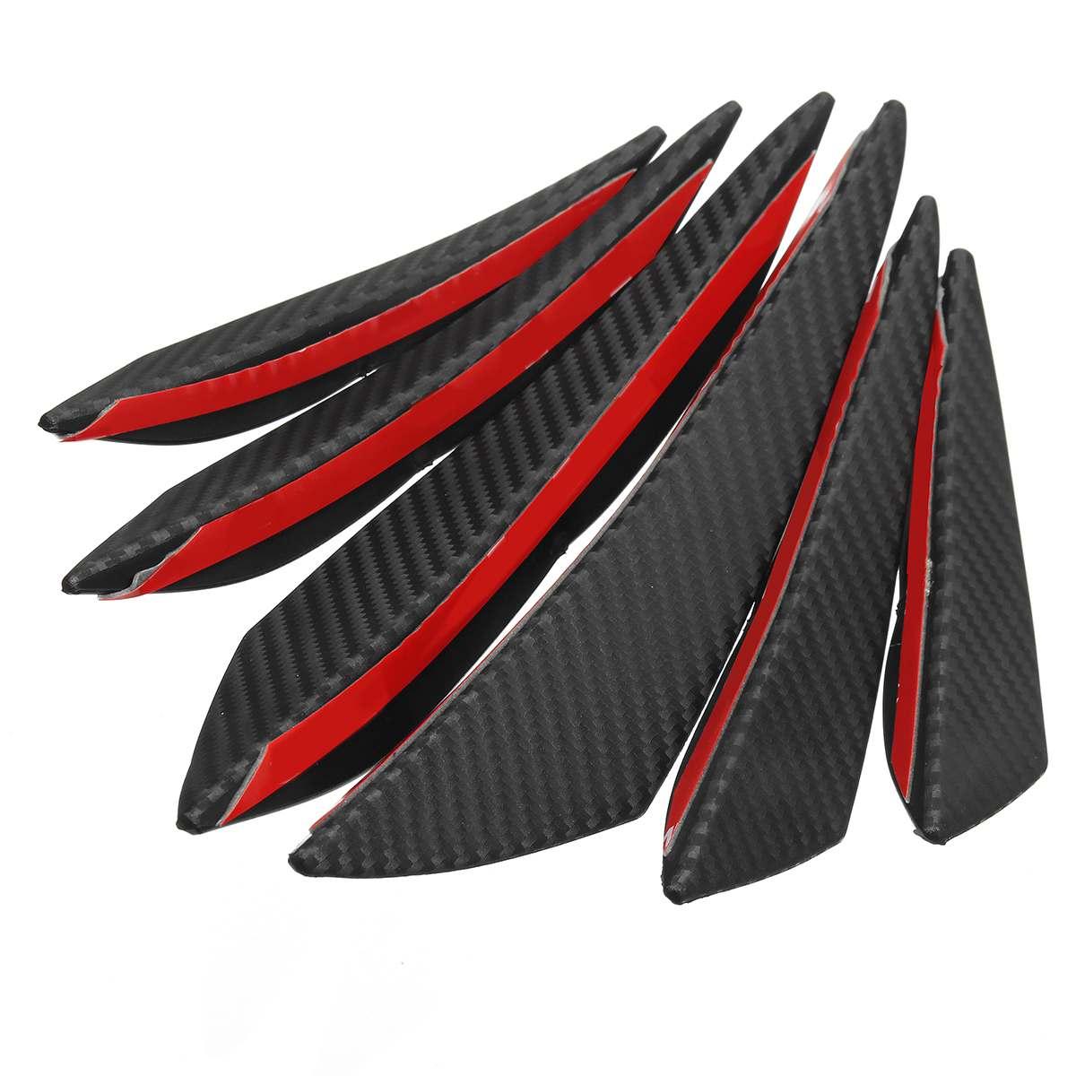 6pcs Universal Carbon Fiber Car/Auto Front Bumper Fins Spoiler Canards Refit Exterior Parts Bumpers
