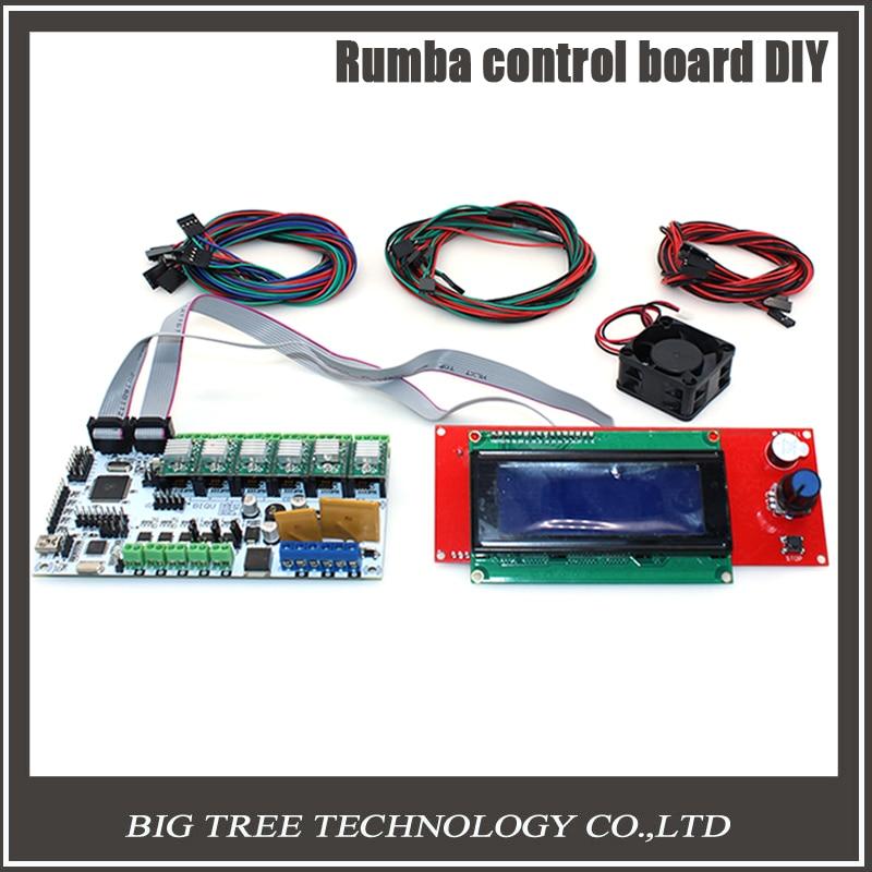 все цены на  BIQU Rumba control board DIY+cooler fan +LCD 2004 controller display +jumper wire Rumba control board kits for reprap 3D printer  онлайн