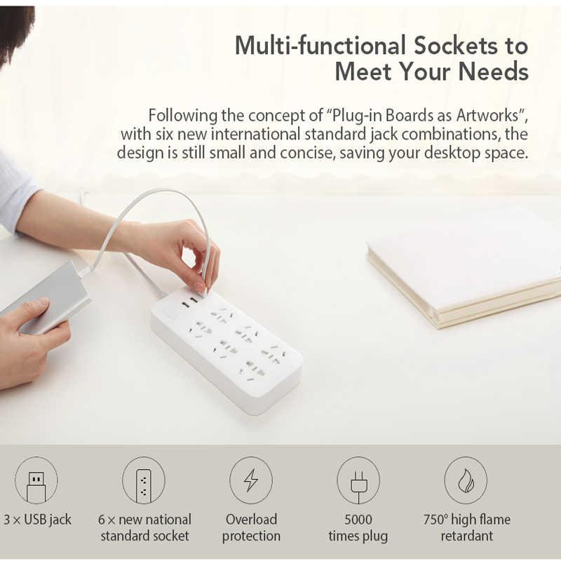 XiaoMi Mi inteligentna listwa zasilająca 6 portów z 3 USB szybkie ładowanie 2.1A wtyczki zasilania USB gniazdo ładowarki usa wielka brytania ue AU listwa zasilająca