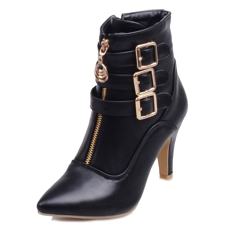 Sjjh Talon Taille Grande Cm Chunky Cool Bottes Boucle Moto blanc Toe rouge Femme Filles Mode Q059 Chaussures Noir Zip Cheville Point 8 Courte Avec 1cJ3lFTK