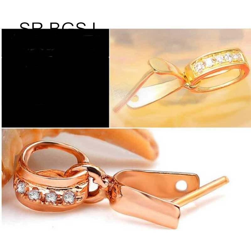 Livraison gratuite Micro incrustation Zircon or pendentif boucle Clip curseur bijoux connecteur fermoir - 4