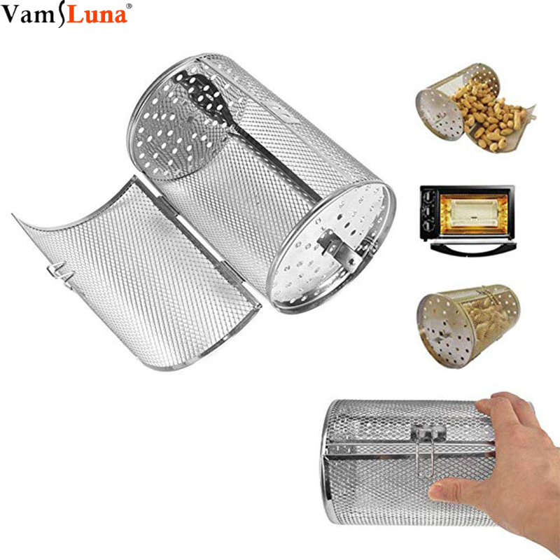 Coffee Grill Basket, 14X23cm Stainless Steel Bakeware Oven Roast Baking Rotary Nuts Beans Peanut BBQ Grill Kitchen Cooking Tool(China)