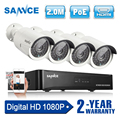 SANNCE 4CH 1080 P Netwerk POE NVR Kit CCTV Security System 2.0MP IP Camera Outdoor IR Nachtzicht Bewakingscamera systeem