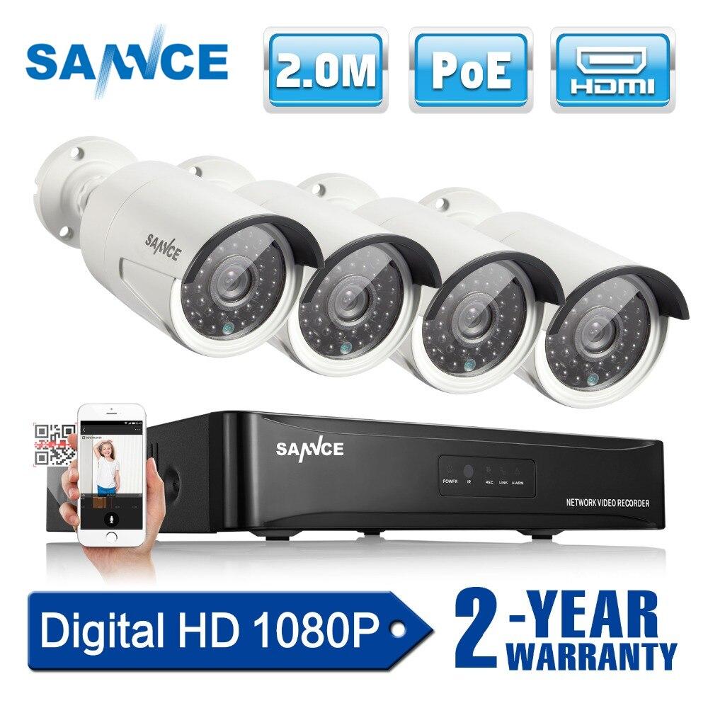 SANNCE 4CH 1080 p Réseau POE NVR Kit CCTV Système de Sécurité 2.0MP IP Caméra Extérieure IR Vision Nocturne Caméra de Surveillance système