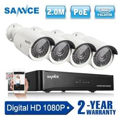 SANNCE P 4CH 1080 p red POE NVR Kit CCTV sistema de seguridad 2.0MP IP cámara exterior IR visión nocturna sistema de cámara de vigilancia