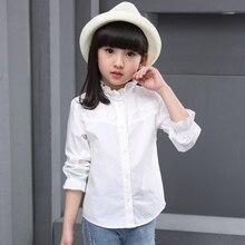 Белые школьные рубашки для девочек; Новинка года; блузки для девочек с длинными рукавами и круглым вырезом; однотонные топы для подростков; детская одежда; Bs083