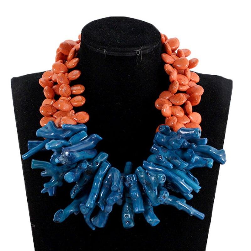 Magnifique collier de corail Baroque Orange et bleu sarcelle mode perles de mariage africain collier de fête bijoux de mariée 2018 CNR037