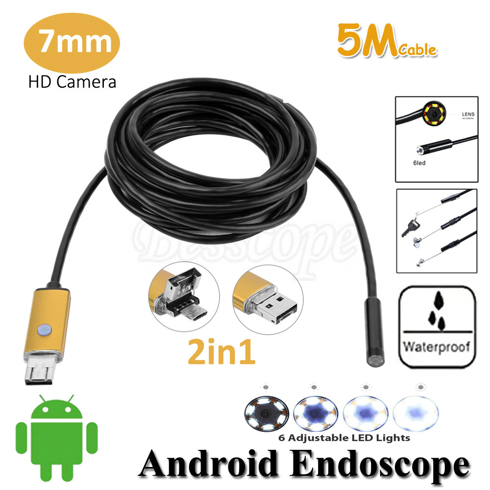 7mm Lens 2in1 Android Endoscope Camera 5M OTG Micro USB Snake Flexible Tube Inspection Android USB Borescope IP68 Waterproof 2m mini android usb endoscope camera 5 5mm lens snake tube waterproof android phone otg usb endoscope borescope camera 6pcs led