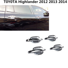 For Toyota Highlander 2012 2014 car cover trims ABS chrome Door handle External door Bowl sticks