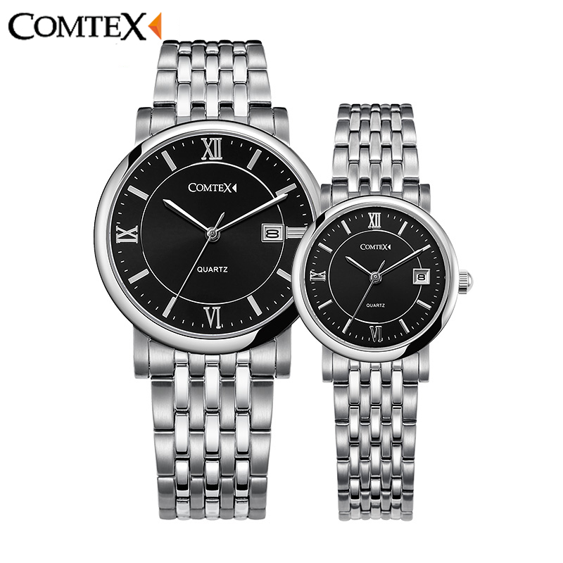 ФОТО COMTEX 2017 Quality Couple Watches Men Women Fashion Watches Lovers' Complete Calendar Watches Ladies Quartz Wristwatch