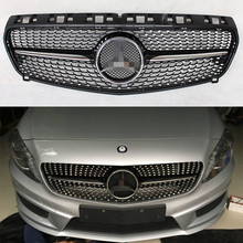 W176 Diamonds Radiator Style Glossy Black Car Exterior Parts Front Bumper Grill Grille for Mercedes-Benz W176 2013-2016