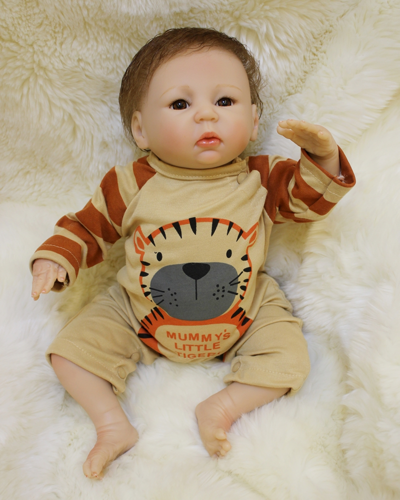 Soft Silicone Reborn Boy Baby Doll Toy Lifelike 45cm Cute Newborn Babies Dolls Fashion Birthday Gift Present Girl Play House Toy soft silicone reborn baby dolls toys for girls lifelike birthday present gifts cute newborn boy babies bedtime play house toy