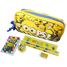 1 set high quality children minion school Pencil Case for boys& girls cartoon school supplies minions pencil bag kids stationery